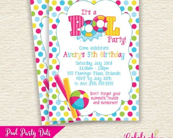 SALE! - Pool Party Birthday Party Invitation (Choose Dots or Stripes) - Printable Design - by Celebration Lane