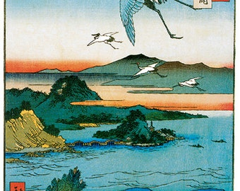 Hand-cut wooden jigsaw puzzle. CRANES FLYING JAPAN. Hiroshige. Japanese woodblock print. Wood, collectible. Bella Puzzles.