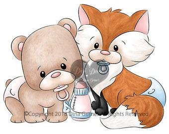 Paco & Ferris Baby Woodland Digi Stamp