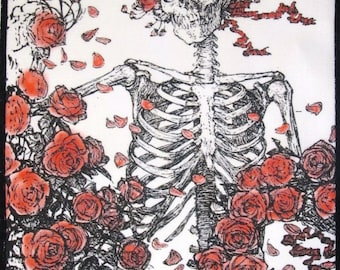 Printed Patch - Large Back RUBIYAT SKELETON - Grateful Dead Rosie colored