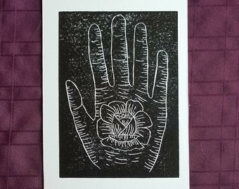 Soft Touch linocut relief print