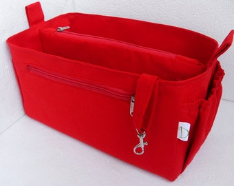 Purse organizer Fits large Longchamp Le Pliage- Bag organizer insert in Rich Red
