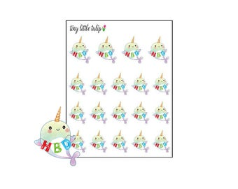 Planner Stickers Narhwal Happy Birthday