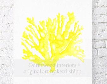 Sea Coral in Marigold Yellow Print 11x14
