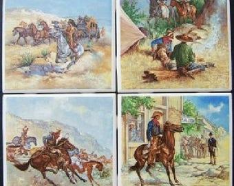4 Ceramic Tile Remington Scenes cowboy Indians Stagecoach Campfire mural