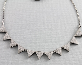 Pave Diamond Necklace, Pave Diamond Triangle Necklace w/Diamond Clasp, Adjustable to 16 and 18 inches, Diamond Fancy Necklace (DCH-038)