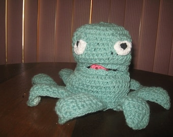 Crochet Green Octopus Hand Puppet