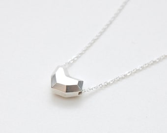 Faceted heart pendant necklace in sterling silver, simple heart necklace, silver heart necklace