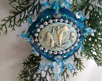Sea Maidens beaded satin ornament