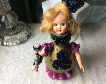 "Assemblage Art Doll, ""Queen of Glass Beads"" all Antique and Vintage Materials"