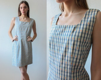 90s Mini Dress Carrot Print | Cynthia Rowley Sheath Mini Dress Vintage Blue - Small to Medium