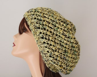 Knit Hat Yellow, Green, Brown Slouchy Hat