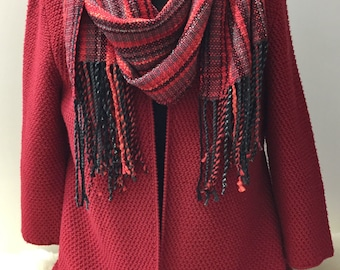Handwoven Scarf/Shawl, Elegant Red, Gray & Black Tones, Handmade, Luxurious Wrap, Soft, Fringe, Unique, Gift