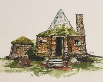 Harry Potter Inspired Hagrid's Hut Watercolor Painting
