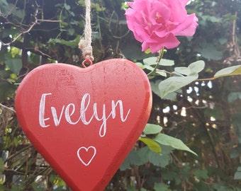 Personalised Red Hanging Heart - Wooden Heart Door Hanger - Room Decor - Rustic Wooden heart - Gift for her - Housewarming Gift - Home decor & Heart door hanger | Etsy
