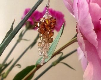 Copper Swarovski Cluster Earrings