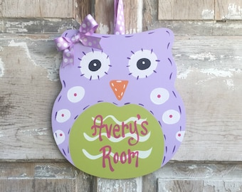 Owl Door Sign, Girl's Room Sign, Personalized Room Sign, Name Plaque, Girl Decor, Baby Shower Gift, Nursery Decor, Owl Decor, Baby Room,