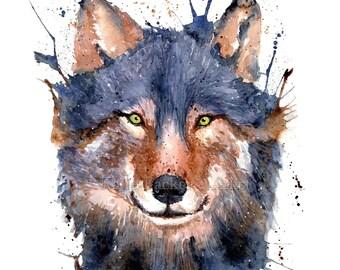 Watercolour mystic wolf, fine art print