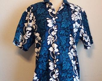 Vintage 1980s/90s K.Y.'s Brand Blue and White Medium Men's Hawaiian shirt 100% cotton Made in Hawaii Aloha shirt