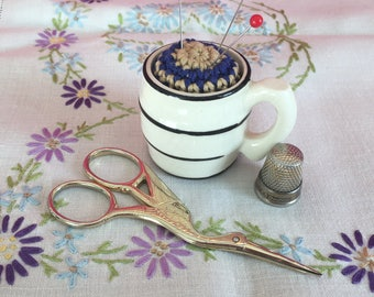 Cute pincushion, crochet pincushion, striped tankard, pottery pincushion