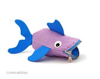 Poisson lavande pochette - cadeau de Pâques - Kids monnaie bourse - bambin mignon cadeau - Guppy bleu lavande poche - Childrens poisson poche - prêt à l'expédition