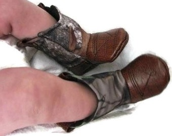 Hunting Camo Baby Cowboy Boots with Leather | Preemie size up to 24 months