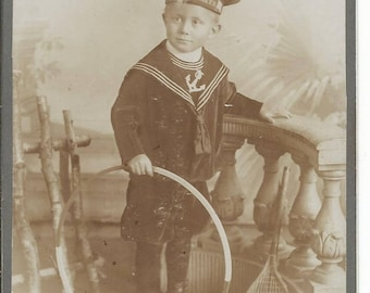 Antique 1900's Little Boy in Sailor Suit with Toys Germany
