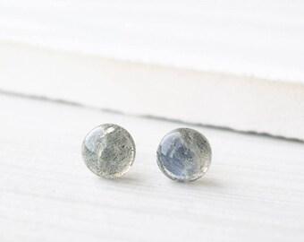 Small Labradorite Post Earrings - Nickel Free Titanium Studs, Minimalist Jewelry, Gemstone, Simple, Stone, Grey