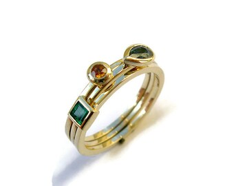 Gemstone Stacking Rings Set, 14k Yellow Gold Ring, Sapphire, Emerald, Pear, Square, Round, Bezel, Stone Jewelry