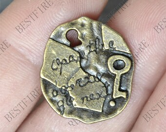 24 pcs of Talisman Charms Antique bronze,Key pendant, Metal charm,findings,jewelry finding