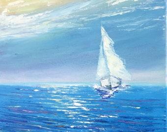 "Sailing - Daylight Voyage 11"" X 14""Original Impressionism Oil Painting artwork on canvas, オリジナル油彩画 by Yoko Collin"