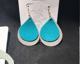 Grey and Aqua Leather Earrings