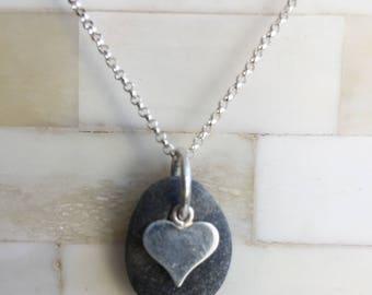 petite beach stone sterling silver heart necklace, beach stone necklace, sterling silver heart beach stone necklace, beach stone necklace