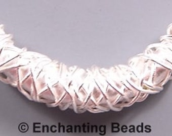 Karen Hill Tribe Silver Curved Bead T467 (1), Wire Wrapped Bead, Long Bead 36mm (1.4in) Large Curved Silver Wire Bead