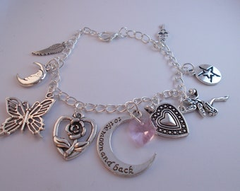 Silver Charm Bracelet with Moon and Pnk Crystal Heart