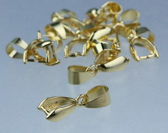 20 pcs of Gold plated on Brass Pinch Ice Pick Bails Pendant Clasp - 19mm