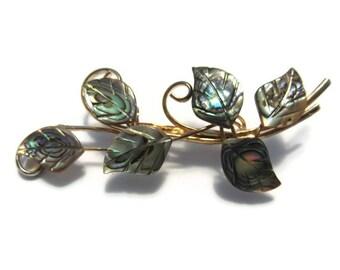 Vintage Gold Vine Abalone Leaf Brooch