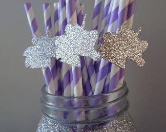 Silver Unicorn Straws, Lavender and White