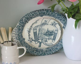 """Antique Copeland Teal """"Cairo"""" Transfer ware Meat Serving~Carving platter / plate ~ English Victorian ~ 1885"""
