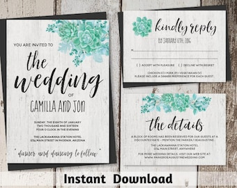 Watercolor Succulent Wedding Invitation Template - Printable Cactus Wedding Invitation Set - Rustic Wood Instant Download Digital File Suite