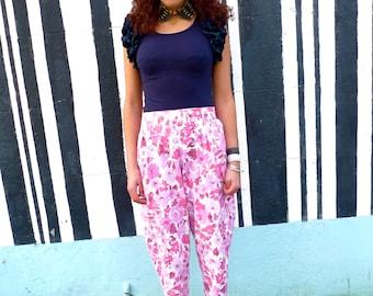 Handmade Unique Pink Floral Cotton Trousers Pants