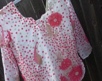 Women's Handmade Elegant Lined Sari Silk Chiffon Blouse Shirt - 3/4 Sleeves Summer - Matching Mother Daughter - Pink Floral Dot - Anali H816