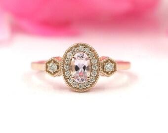 Morganite Engagement Ring/Diamond Engagement Ring/Solid 14K Rose Gold Ring/Morganite Diamond Wedding Ring/Unique Diamond Engagement Ring