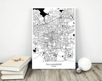 Tallahassee map Etsy
