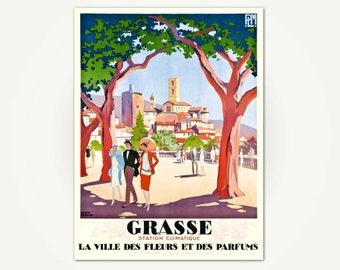 Grasse Travel Poster Print - La Ville des Fleurs et des Parfums - Vintage Grasse France Travel Poster by Roger Broders