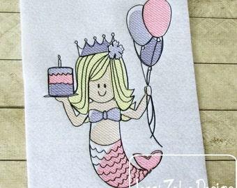 Mermaid Birthday Sketch Embroidery Design - birthday Sketch Embroidery Design - mermaid Sketch Embroidery Design - girl Sketch Embroidery