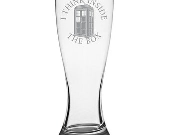 I Think Inside The Box - Dr Who Pilsner Glass
