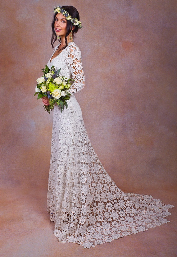 Rustic boho wedding dress simple crochet lace bohemian rustic boho wedding dress simple crochet lace bohemian wedding dress w long sleeves and train vintage style crochet lace wedding dress junglespirit Image collections