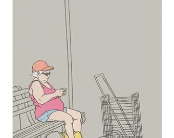 Brooklyn- Woman on Bench, Print, 8x10