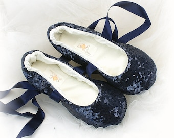 Navy Blue Wedding Ballet Shoes for Brides Sequin Flats with Ribbon Custom Slippers